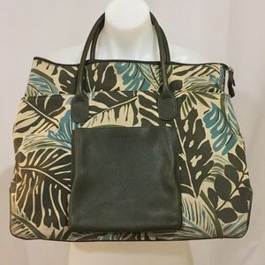 Levenger green tropical palm large bag